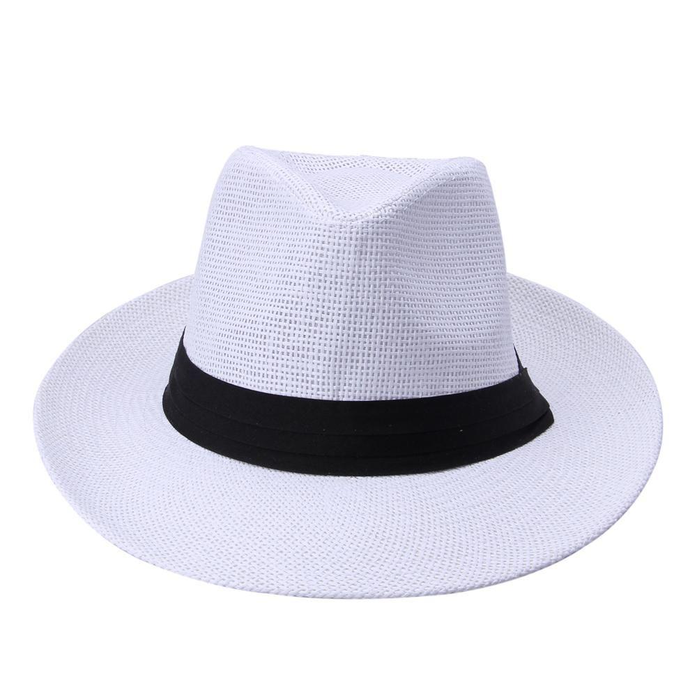 f5d677e1 2018 Fashion Summer Casual Unisex Beach Trilby Large Brim Jazz Sun Hat  Panama Hat Paper Straw Women Men Cap With Black Ribbon