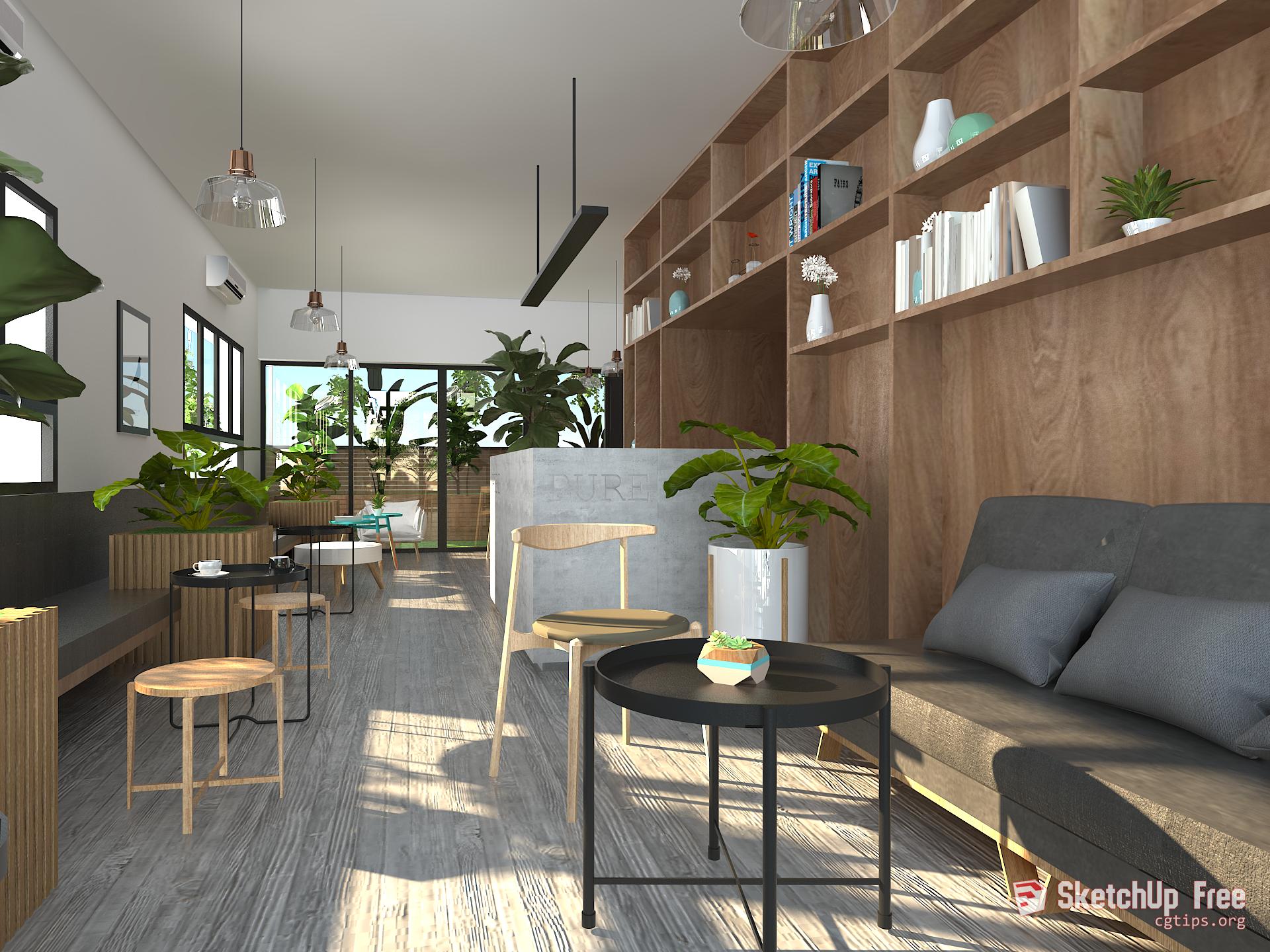 1176 Interior Cafe Showroom Scene Sketchup Model By Vu Phi