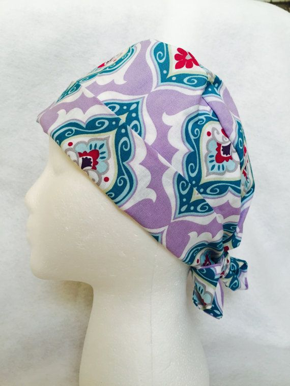 Purple And Blue Princess Pattern Scrub Cap Pixie Or Chemo Scrub