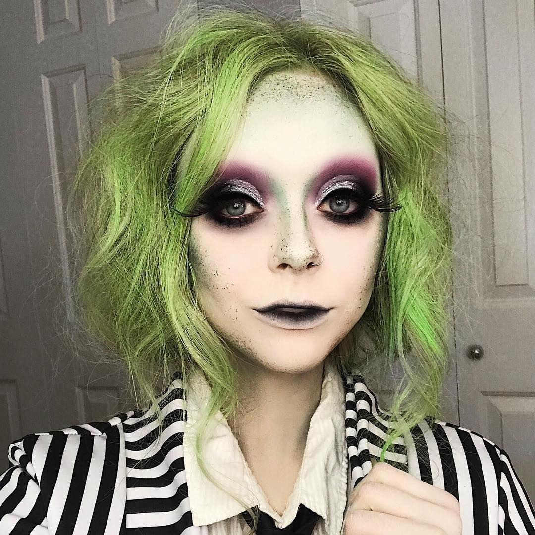 It S Showtime New Halloween Tut For Both Hair And Makeup On My Beetlejuice Halloween Tim Burton Halloween Costumes Halloween Costumes Makeup
