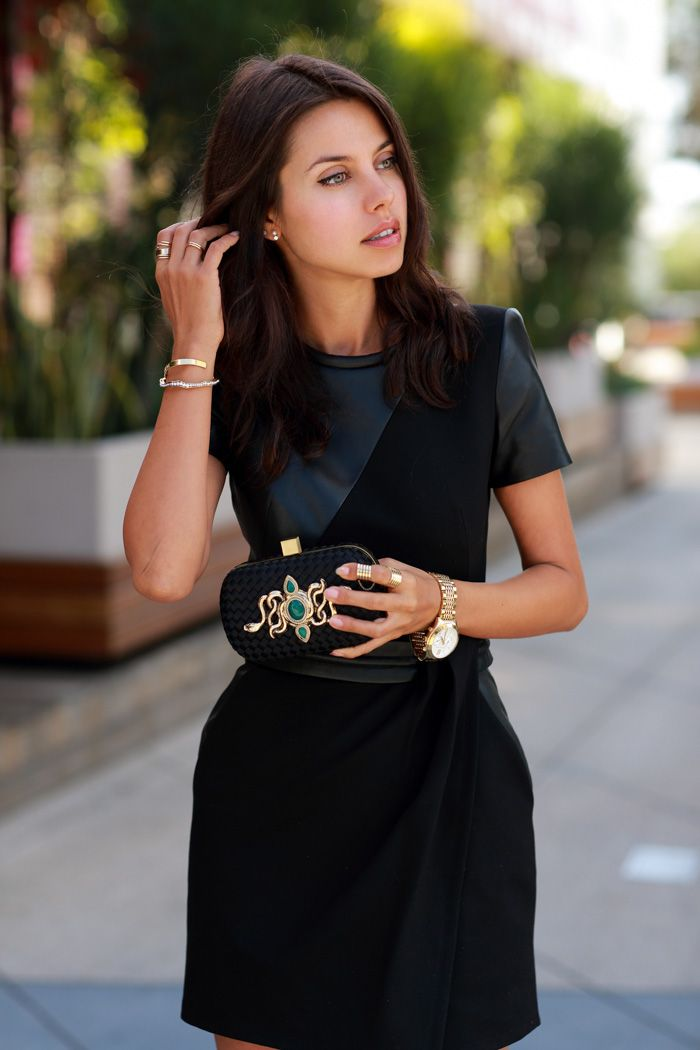 black leather dress 2017 with watch