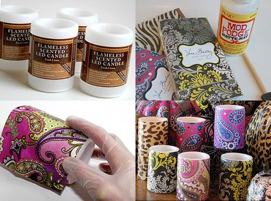 Decoupaged candles!