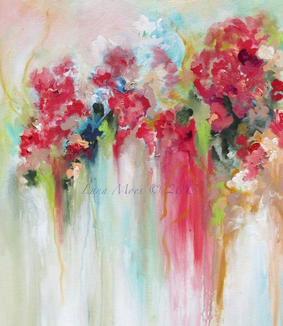 Abstract art floral abstract art print from original for Abstract art flowers paintings