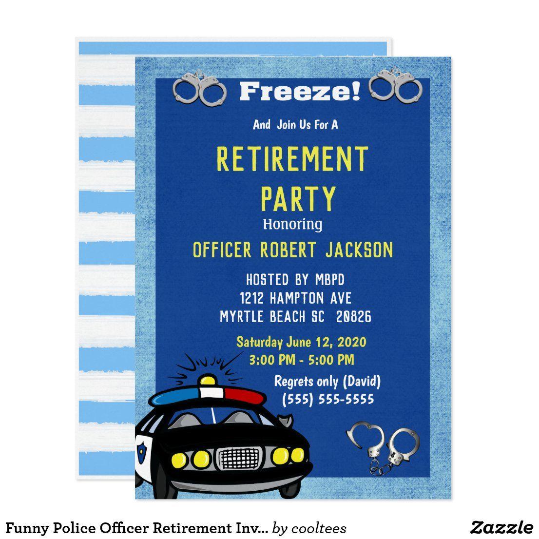 Funny Police Officer Retirement Invitation | Zazzle.com