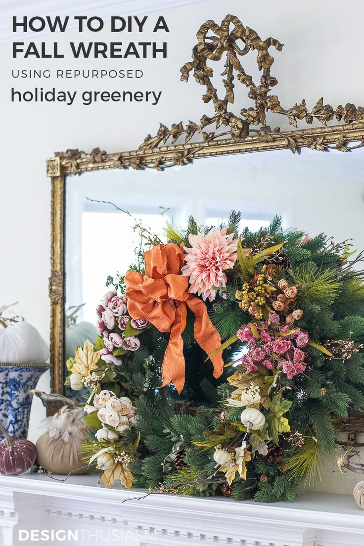 How to Repurpose Your Holiday Decor into a Fall Wreath and Garland Fall Wreath | A great way to make use of your holiday decor is to rework it into a fall wreath and garland to add seasonal flavor to an autumn celebration. ----->