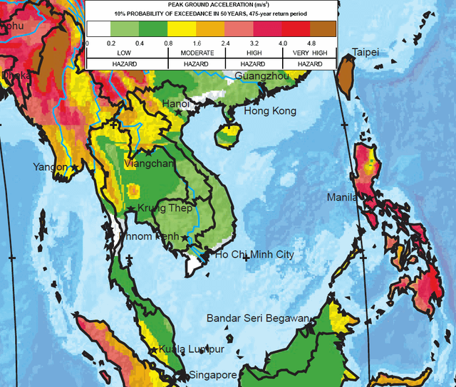 The greatest earthquake zones on earth where are the greatest earthquake threats in the world seismic hazard map of southeast gumiabroncs Images