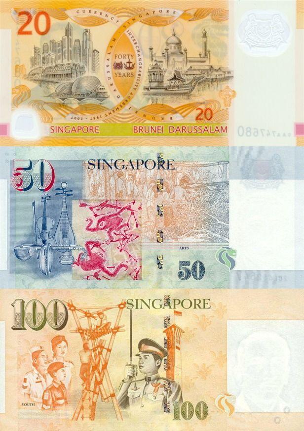 Singapore dollar, back 20, 50, 100 |