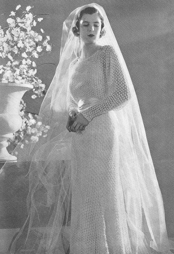1934 Bridal Gown Vintage Knitting Pattern PDF 327 $3.75
