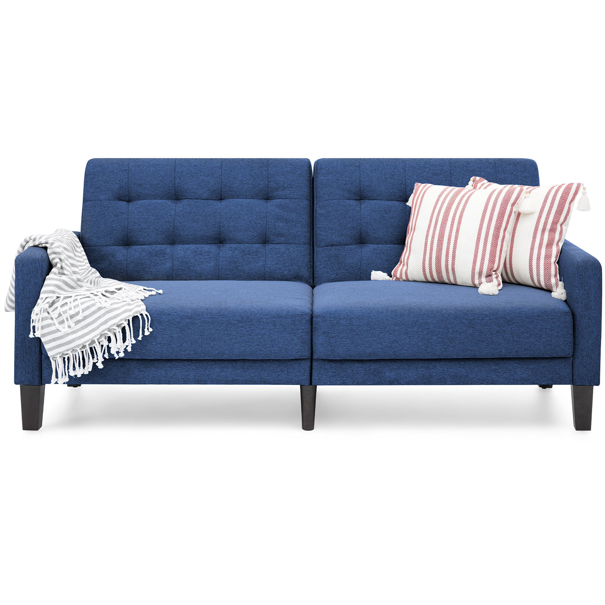 Linen tufted convertible sofa futon sleeper versatile split back