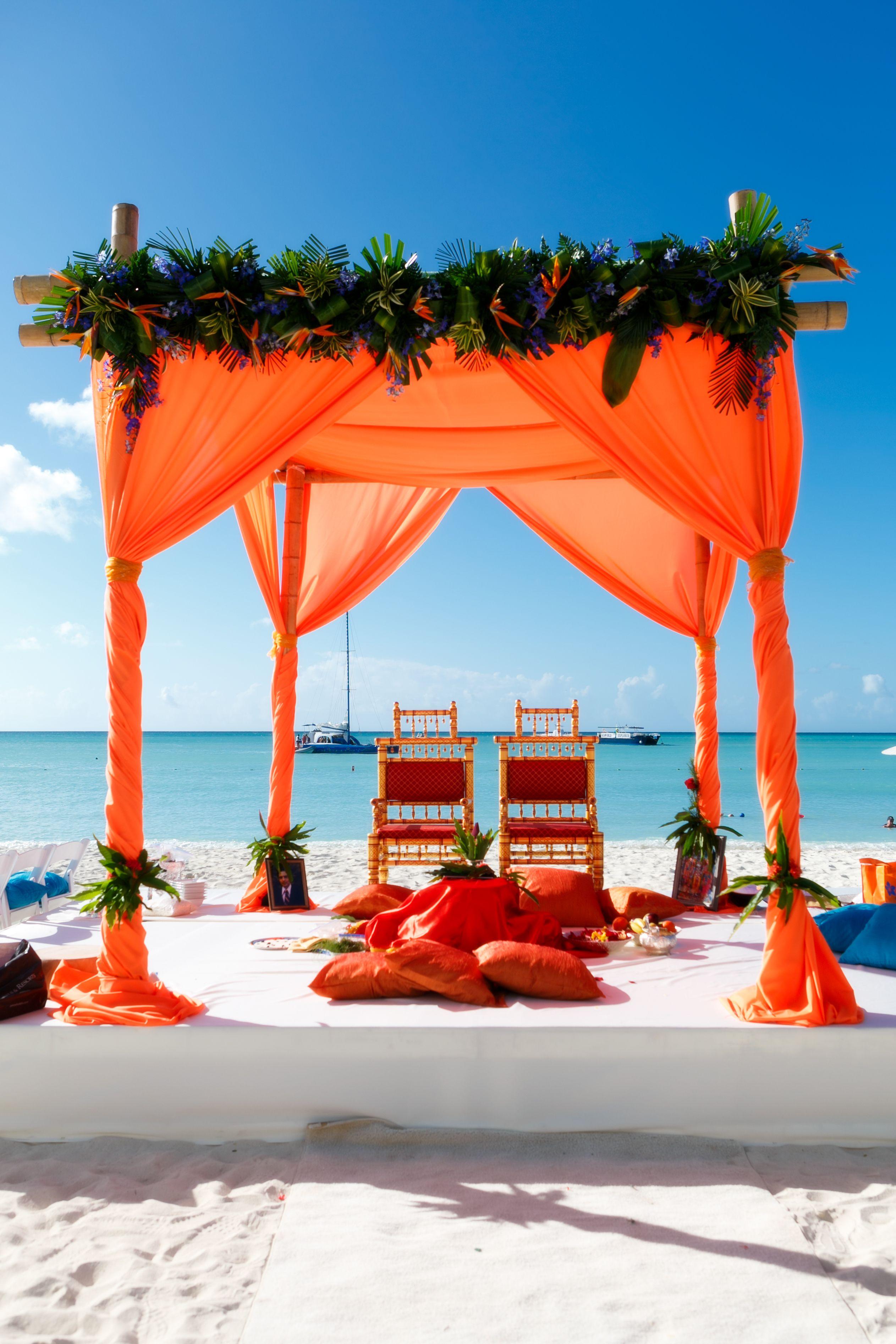 Indian beach wedding setup at Hyatt Aruba. Captured by Winklaar Photography. www.facebook.com/winklaarphotography www.winklaar.com