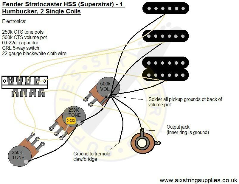 Super Strat Wiring Diagram (Humbucker, 2 Single Coils