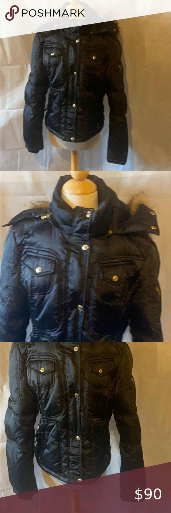Guc Guess Down Feather Puffer Jacket Size Xl Faux Fur Puffer Coat Jackets Down Puffer Coat [ 1740 x 580 Pixel ]