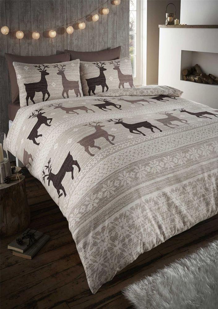 Deer christmas tartan grey 100/% brushed cotton king size 4 piece bedding set