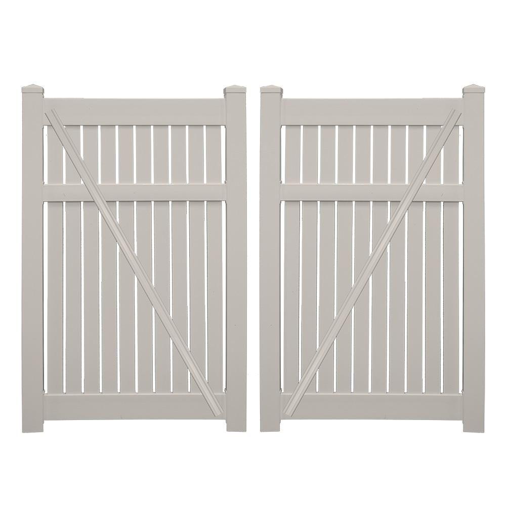 Weatherables Huntington 7 6 Ft X 6 Ft Tan Vinyl Semi Privacy Double Fence Gate Kit Fence Gate Vinyl Gates Vinyl Panels