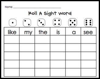 Roll Sight Words  CafeDaily    Word Work Sight Word