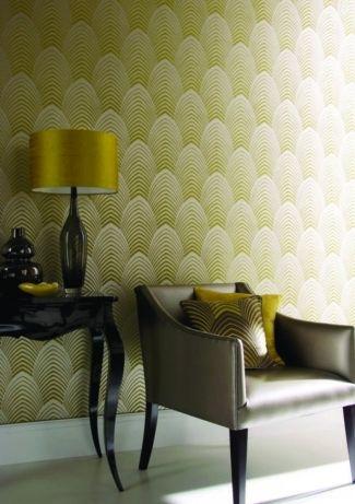 Tapete Deco col05 Retro Tapeten in den Farben gelbgrün - goldene tapete modern design