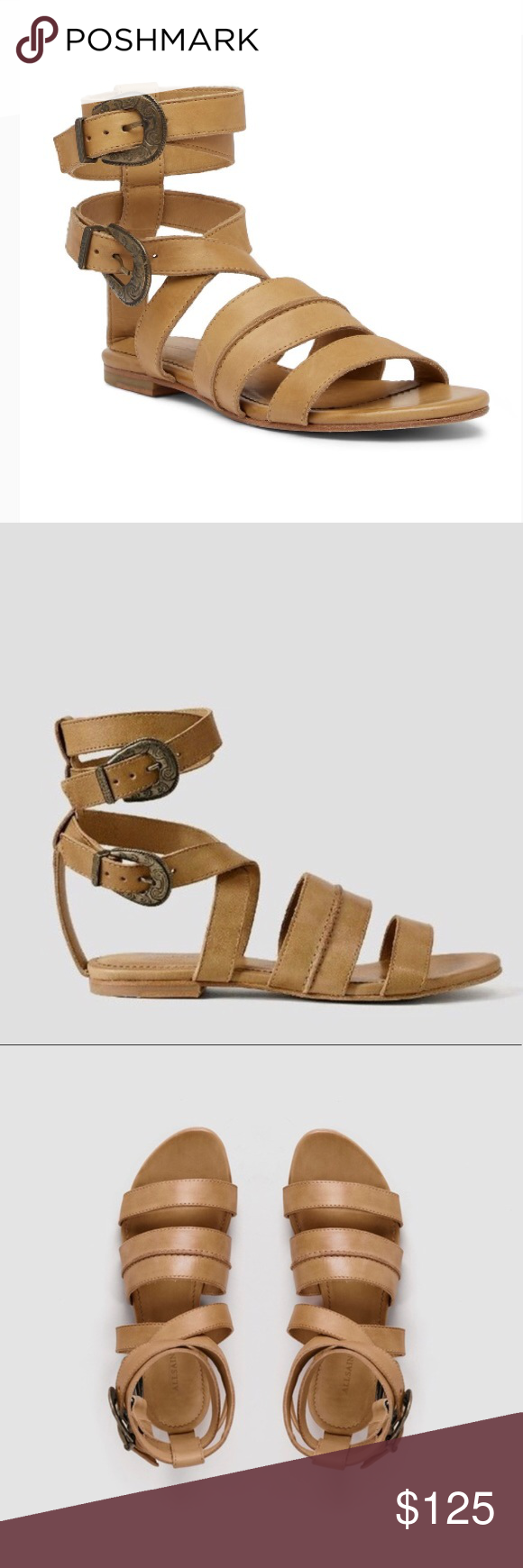 4b727acb0406 All Saints Gladiator Dace Tan Sandals Shoes 7 AllSaints All Saints Dace gladiator  sandals. Great condition. Double wrap around the ankle with metal buckles.