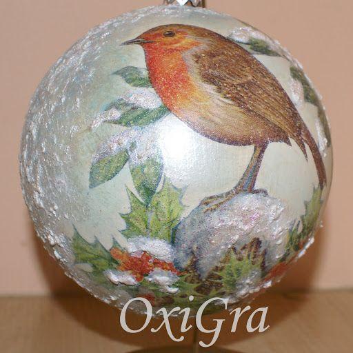 #oxigra #decouopage #bombka #ptaszek #snieg