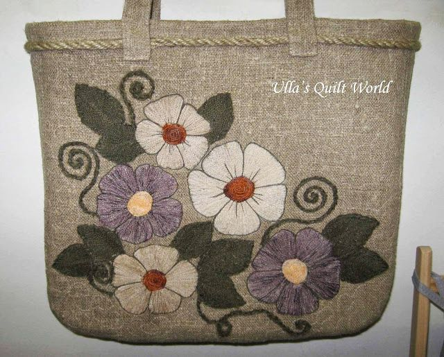 Ullas quilt world quilted applique bag flowers bags