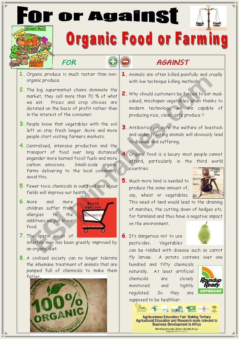 For Or Against Organic Food Farming Debating Esl Worksheet By Karagozian Essay Writing Skill English Skills Additive
