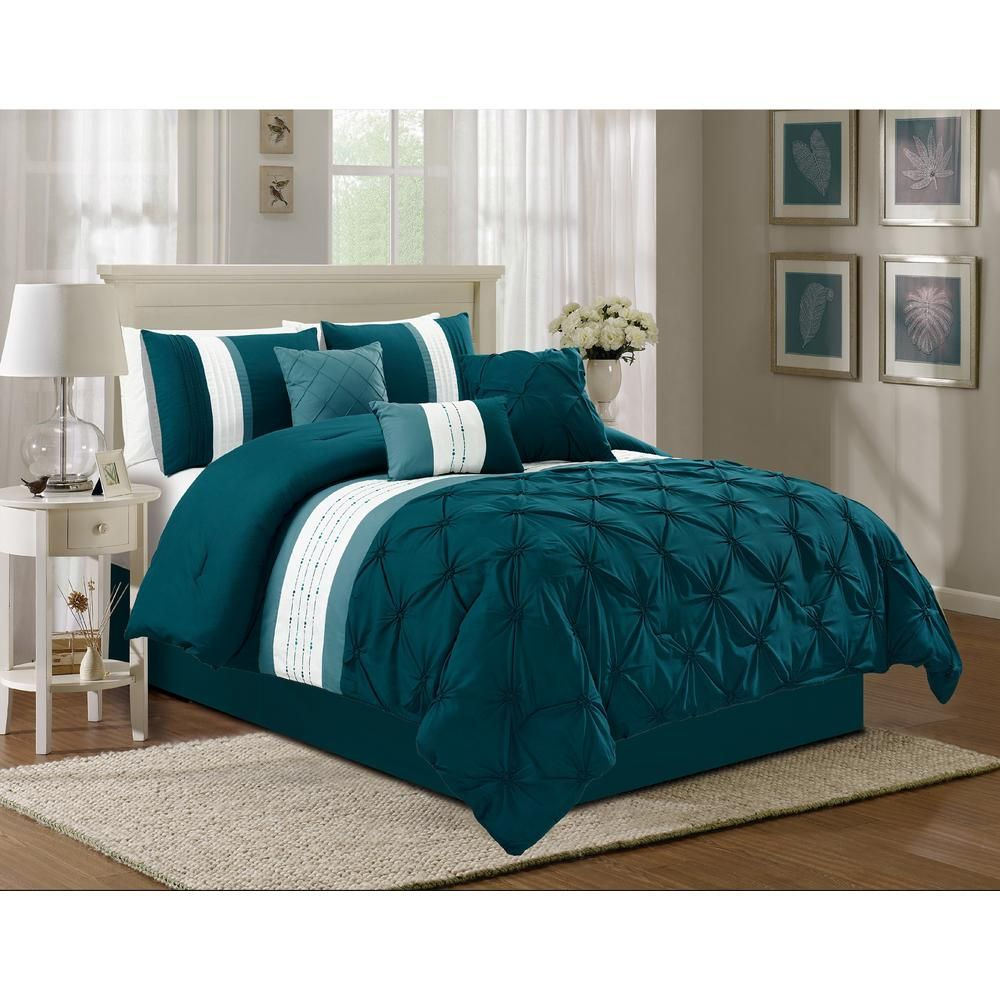 Unbranded Olivia 7 Piece Navy Cal King Comforter Set M588938 The Home Depot Teal Bedding Sets Grey And Teal Bedding Comforter Sets