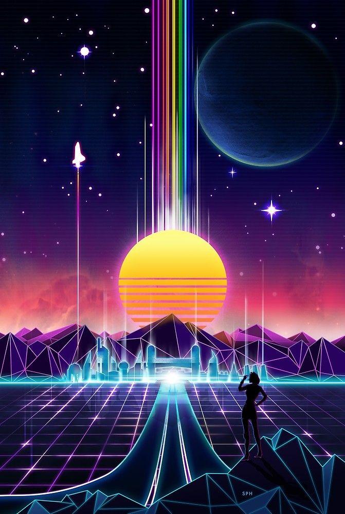 Neon Sunrise Vaporwave wallpaper, Synthwave art