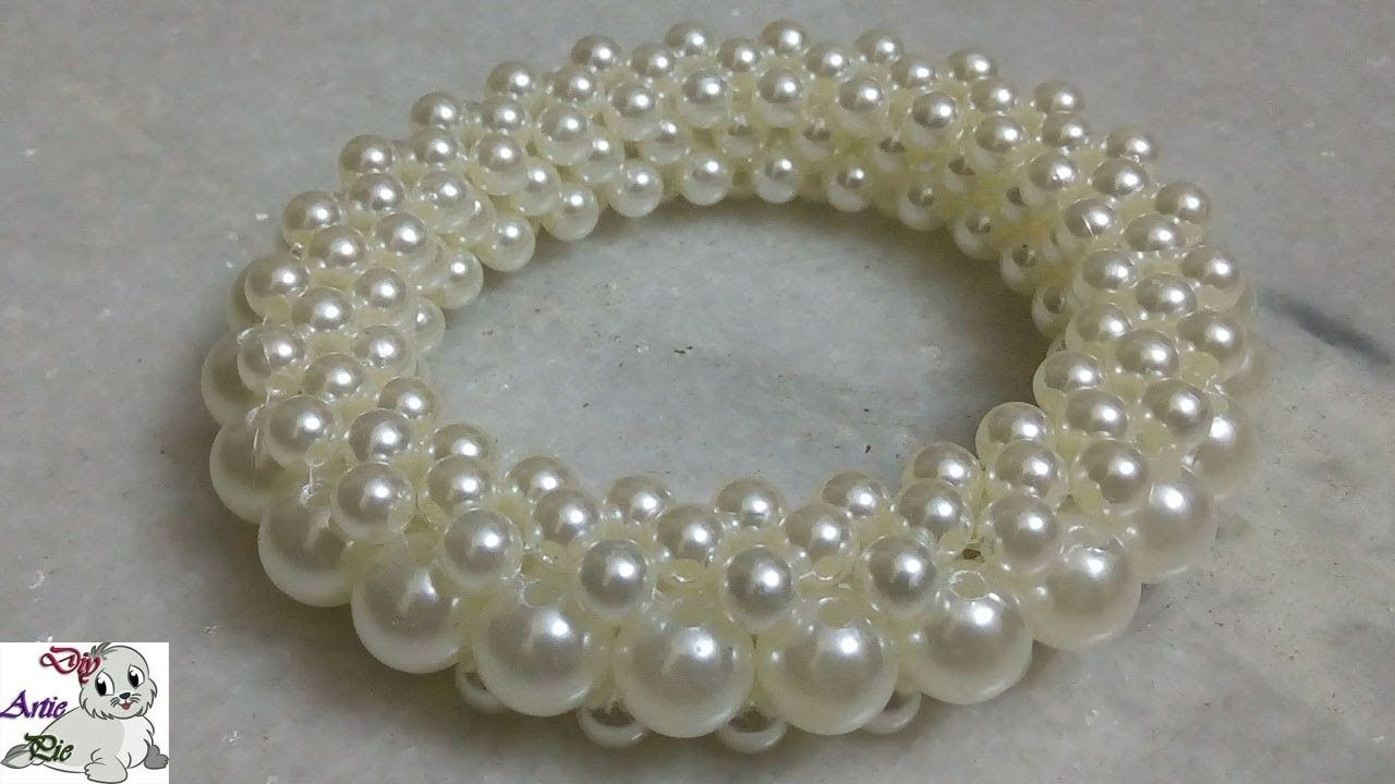 how to make pearl beaded bracelet or bangle pearl beads pearls