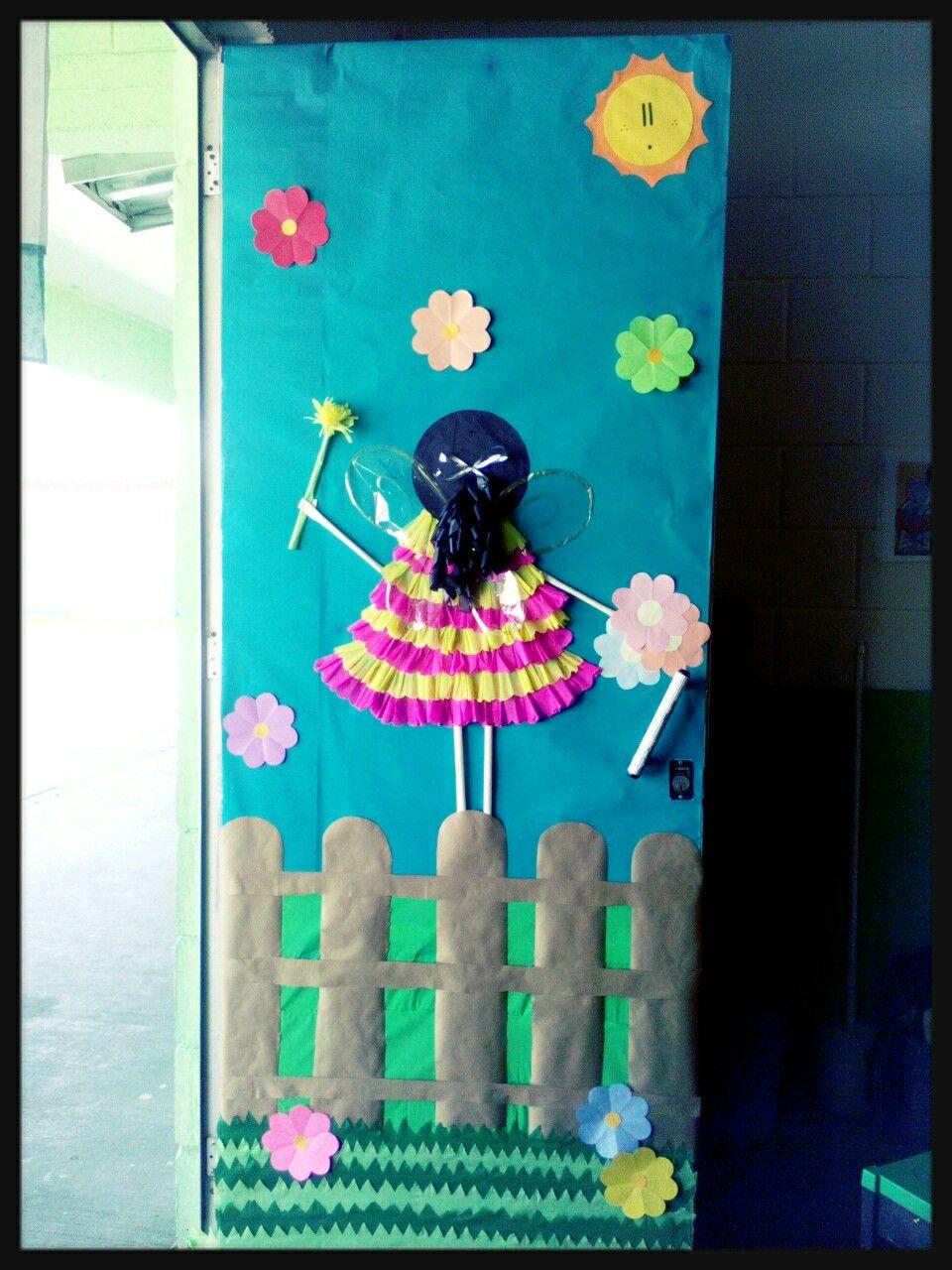 puerta con hada d a de la primavera puertas decoradas y
