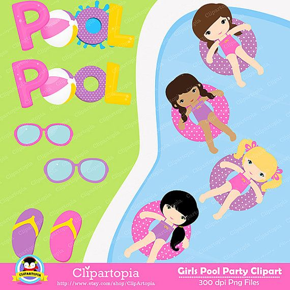 GIRLS POOL PARTY Clipart Pool Party Swim By ClipArtopia