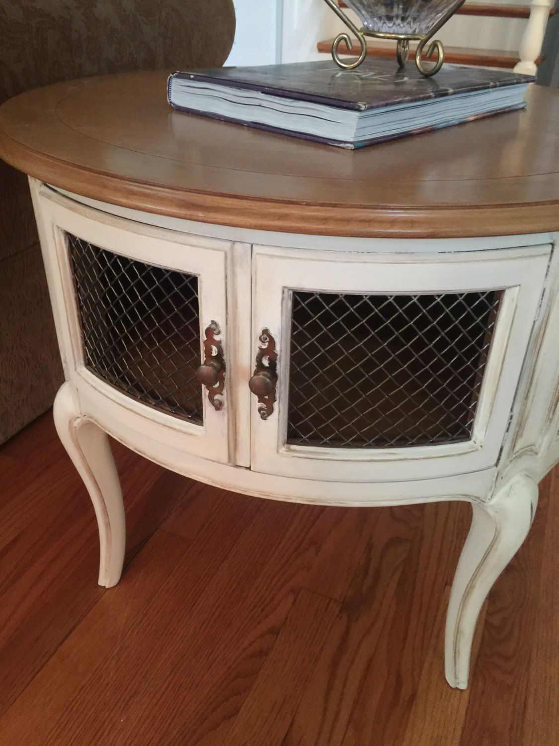 French Provincial End Table Round End Table Painted Furniture