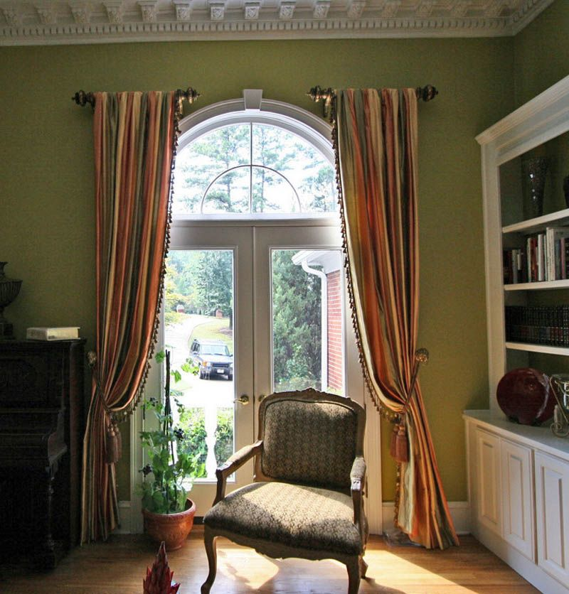 Arched Window Treatments Drapery Panels Hung At The Sides Of French Doors A Cathedral Height