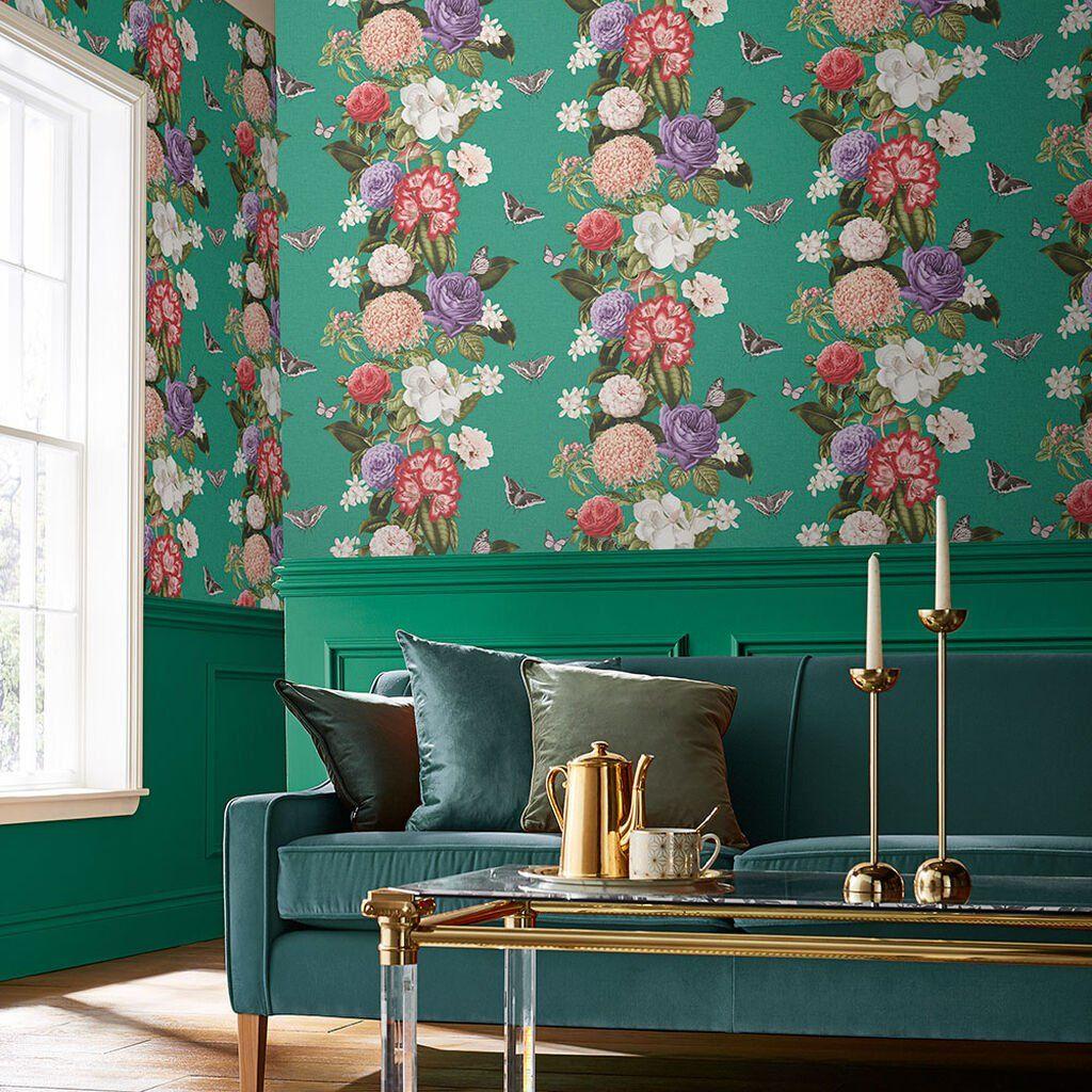 Bloomsbury Emerald Wallpaper In 2020 Brown Wallpaper