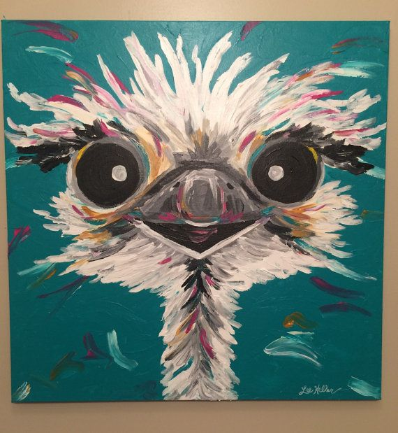 Ostrich painting custom colorful fun animal art painting for Fun acrylic painting ideas