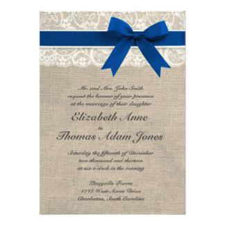 Ivory Lace Royal Blue Burlap Wedding Invitation