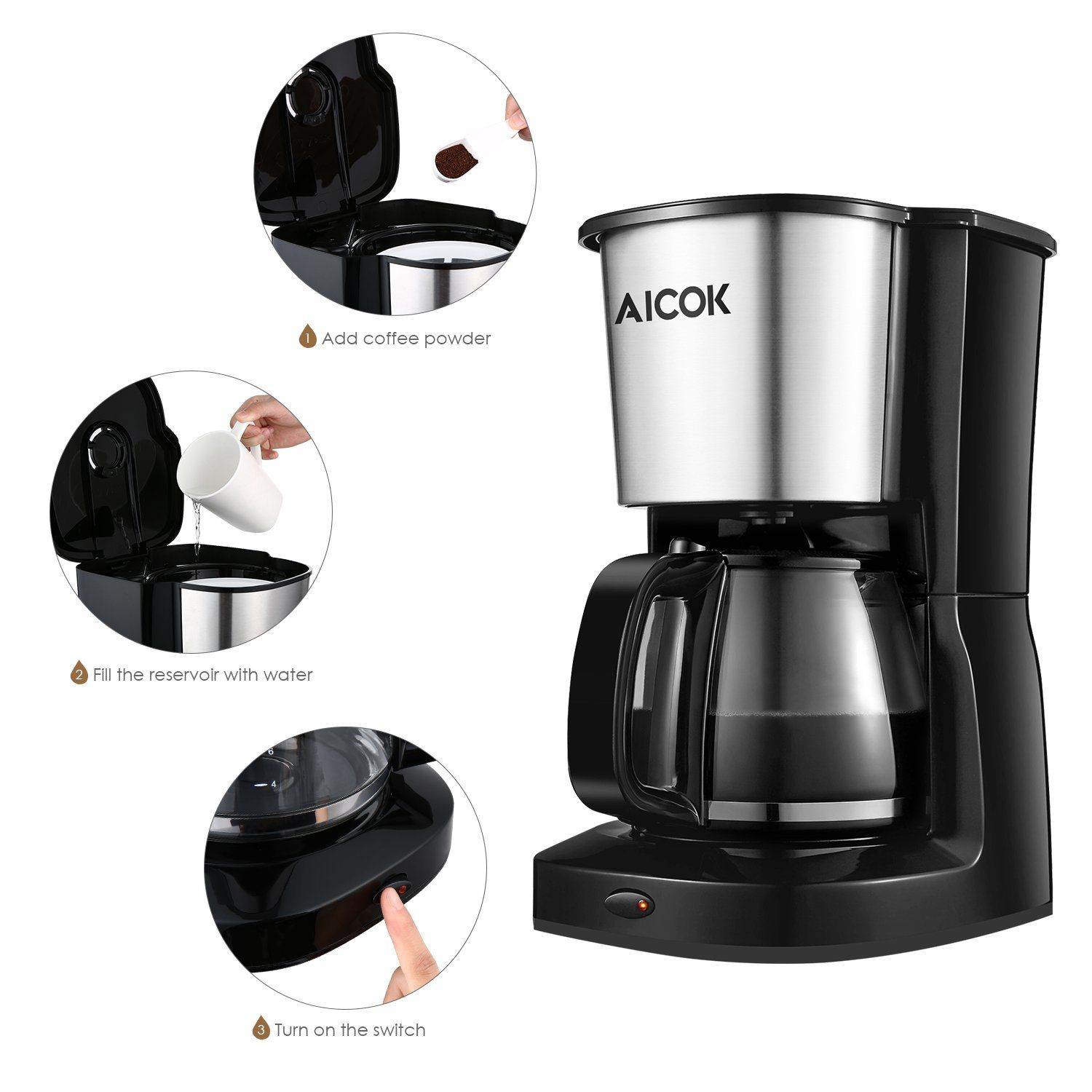 Aicok 10Cup Thermal Coffeemaker Drip Coffee Maker with