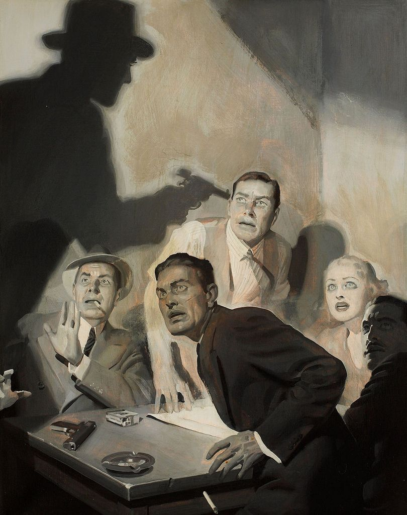 The white hot tension on each character's face and body language...the dramatic shadow and light play...the cig just tumbling out of the guy's hand...damn good piece!   Illustration by Hugh Joseph Ward (1909 - 45)