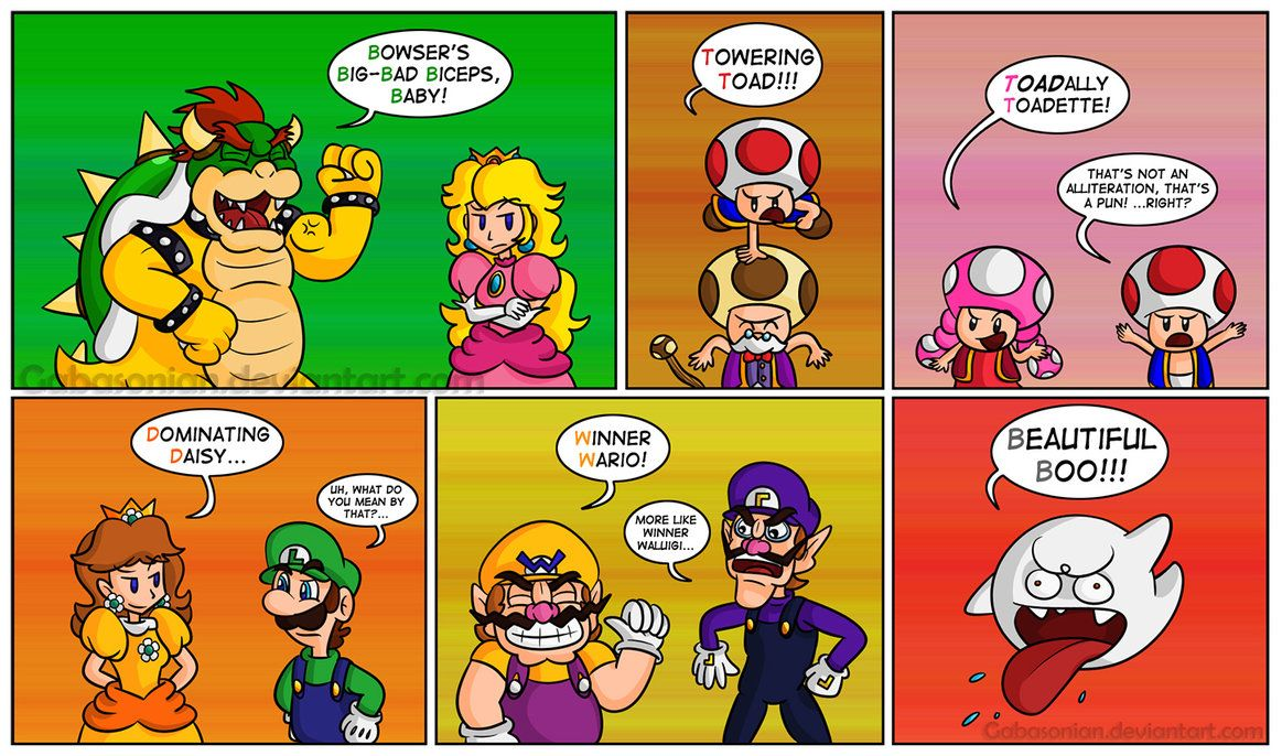 English class for super mario bros! Alliteration for all names ...
