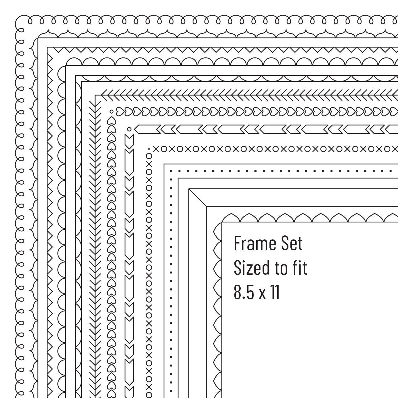 Digital Frames Clipart, Digital borders, 8.5 x 11,