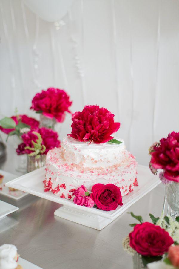 hot pink floral wedding cake