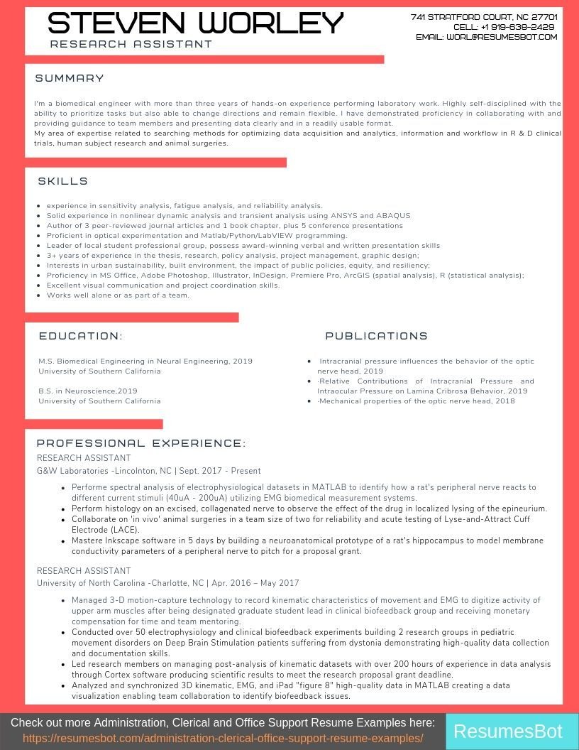 Research Assistant Resume Samples & Templates [PDF+DOC