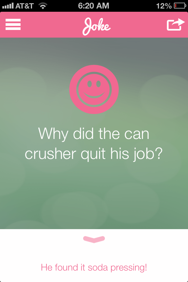 Daily joke-of-the-day via The Daily Mom app! Fun for kids lunchbox notes.