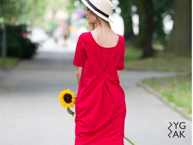 DOUBLE FOLD | sukienka dresowa czerwona - zygzak_ - Sukienki