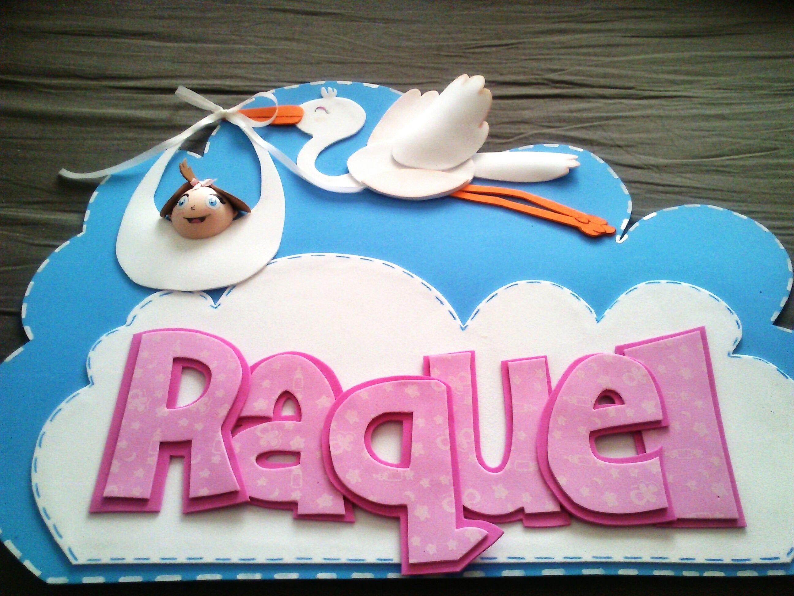 Nombre Raquel / Cigueña con bebé / Goma EVA / Craft Foam / A Mano ...