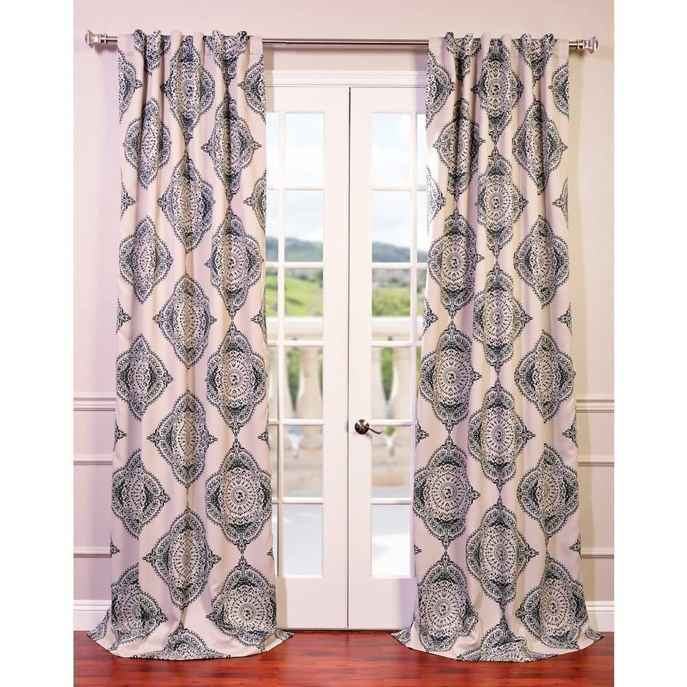 Curtain pair overstock shopping great deals on lights out curtains - Exclusive Fabrics Moroccan Blackout Curtain Panel Pair 120 Inch Blue Size 50 X 120