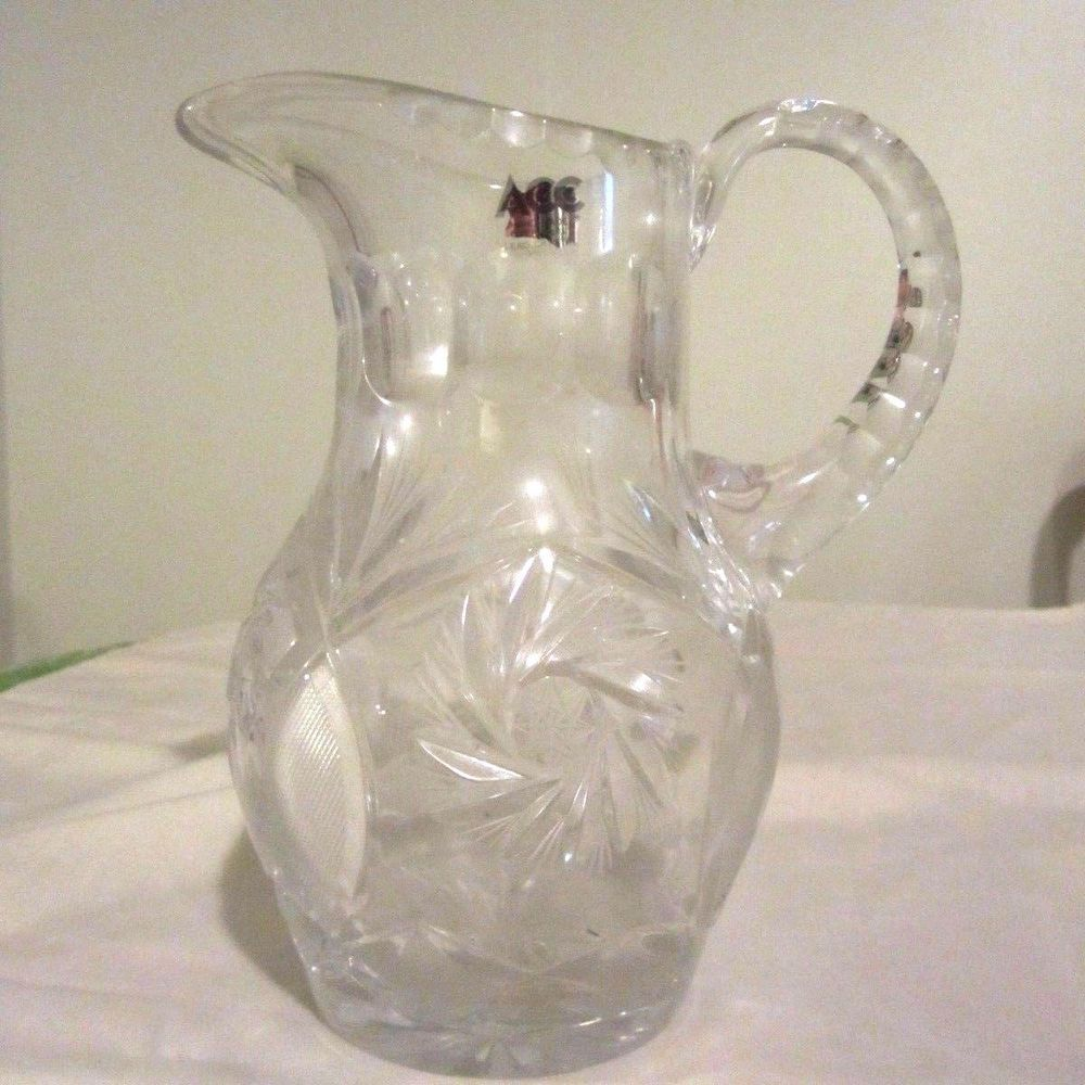 Lead crystal water pitcher cut glass pinwheel starburst design acc lead crystal water pitcher cut glass pinwheel starburst design acc hand made reviewsmspy