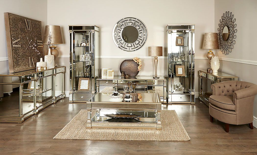 Athens gold mirrored tv entertainment stand large in