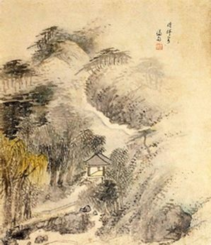 (Korea) 청휘각, 장동8경 by Jeong Seon (1676-1759). aka Gyeomjae. color on paper.