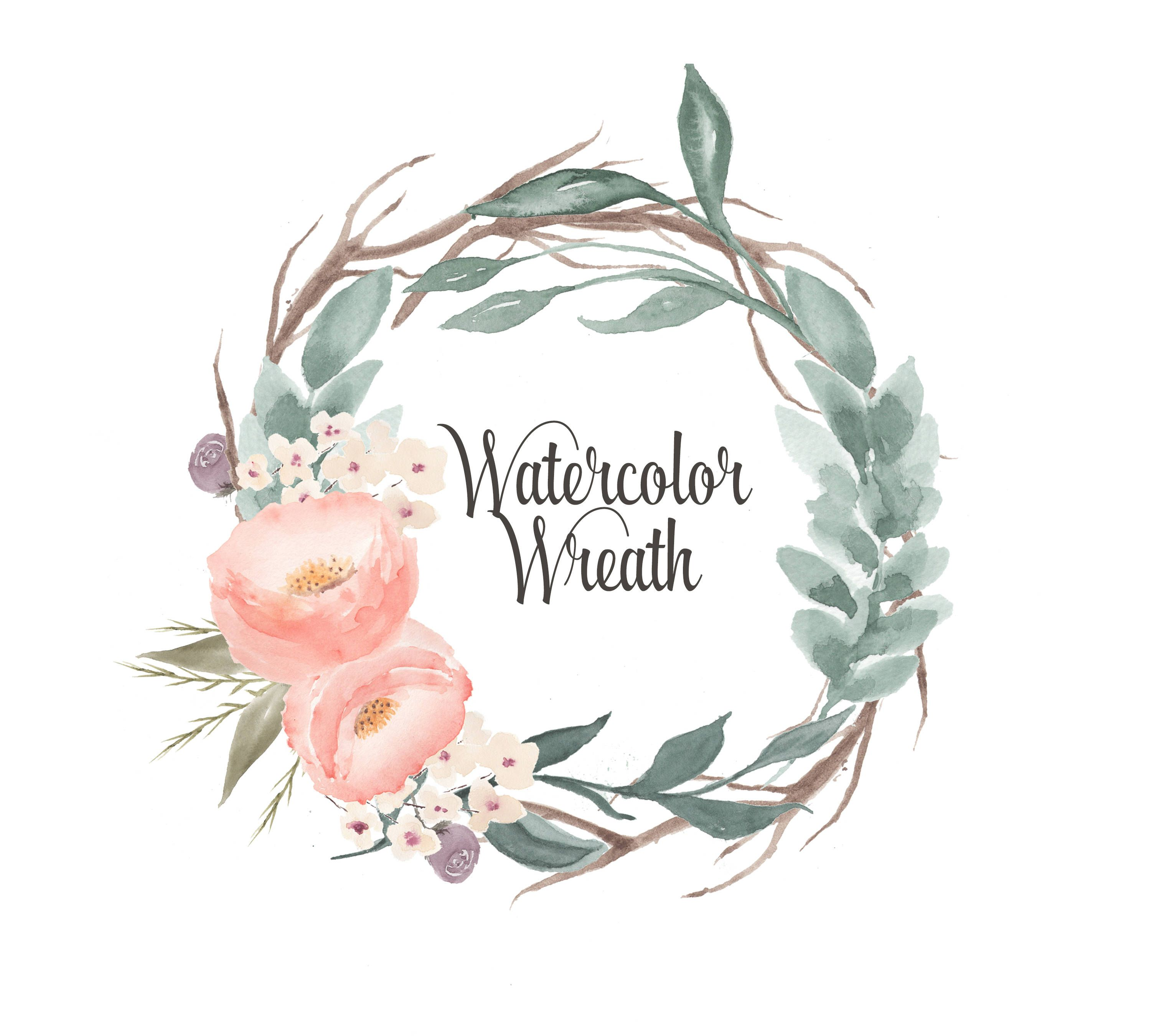 Watercolor Wreath Clipart Floral Frames Borders Wedding Clipart