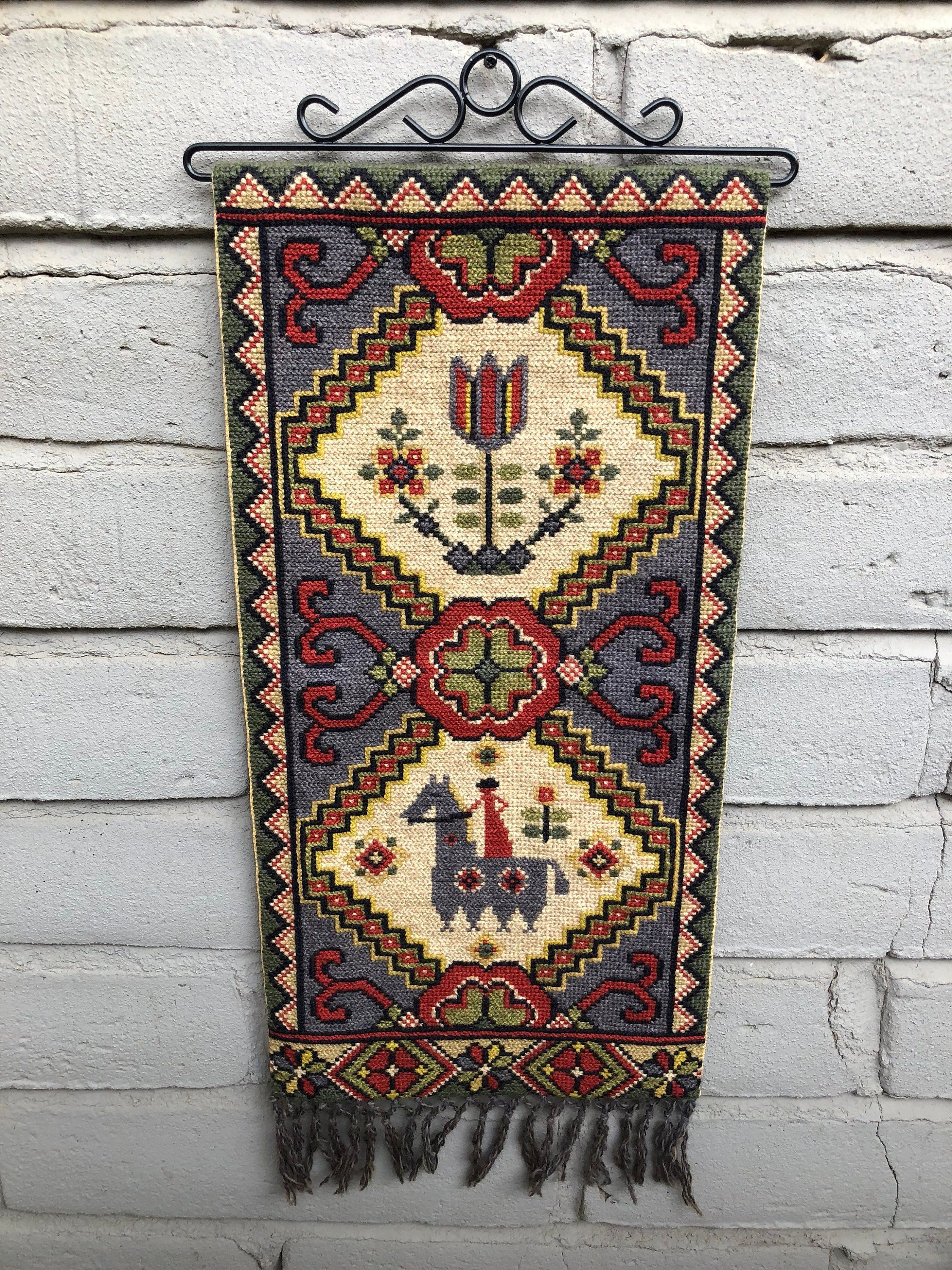 Vintage swedish embroidered wall hanging with hardware tapestry