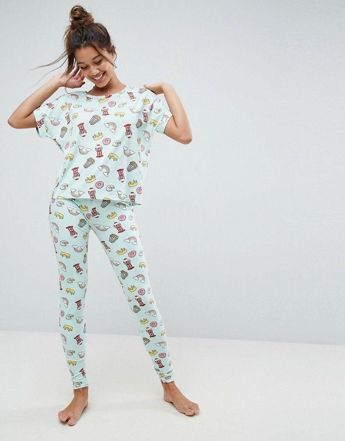 Asos Allover Food Print Tee   Legging Pajama Set 776cd975b